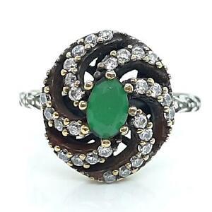 Deco 1.00ct Emerald & Diamond Cut White Sapphire 14K Yellow Gold 925 Ring SZ 8.5
