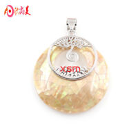 Tree of Life Huge Genuine Handmade Pink Abalone Shell Silver Necklace Pendants