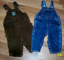 Vintage Osh Kosh Overalls Size 18 Months  Lot of 2  Flannel cuffs Woodsy