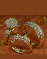 Trio Couple Bridal Wedding Engagement Ring Band Set Diamond 14K Yellow Gold Over