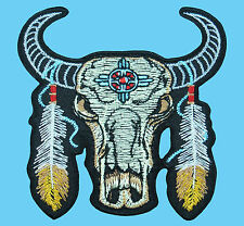 BUFFALO SKULL HEAD Dreamcatcher Biker Rider Embroidered Iron On Patch Applique