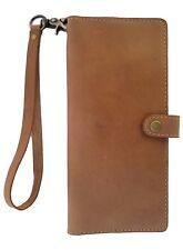 BUCINI Handmade GenuineLeather Cowskin Women's Wristlet PhoneCase Wallet-NATURAL