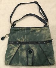 Kipling Cross Body Bag Side Denim Blue Tie Dye Pocket Book Purse
