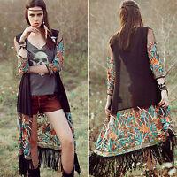 Women Floral Chiffon Long Cardigan Coats Jacket Tassel Shawl Kimono Blouse Tops