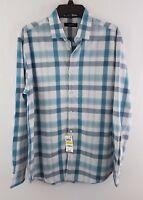 Alfani Men's Flint Dobby Plaid Long Sleeve Shirt Mallard