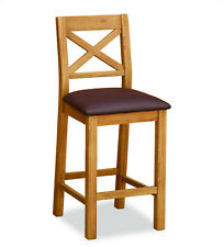 Oakvale Bar Stool / Cross Back Wooden Chair / Tall Seat