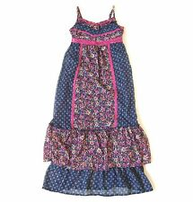 Girls JUSTICE Blue Floral Maxi DRESS 12 Long Back to School