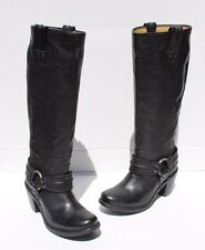 Frye Carmen Harness Tall Women US 7 B  Black Western Boot Pre Owned