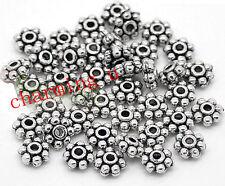 50pz  perline fiore spacer separatori  5mm colore argento tibet