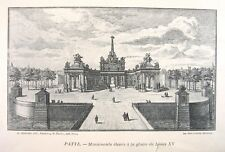 Antique French Engraving Architectural Paris, King Louis XV, Tuileries, Putti