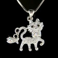 w Swarovski Crystal ~KITTY CAT~ Kitten Fish Charm Pendant Chain Necklace Jewelry