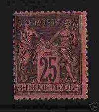"""FRANCE 1877-80 Y&T 91 """"SAGE 25c NOIR S.ROUGE"""" NEUFxxTTB"""