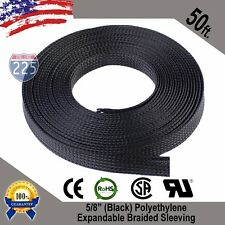 "50 FT. 5/8"" Black Expandable Wire Cable Sleeving Sheathing Braided Loom Tubing"