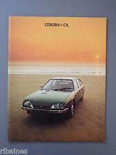 R&L Sales Brochure: Citroen CX 1977, UK 2.0 2.4 2.2 Diesel, GTi etc