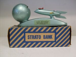 Rare Mint Strato Rocket Moon XU-232 Mechanical Bank W/Box-Key & Instructions