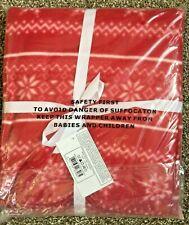 """Christmas Xmas Red & White NORDIC Snowflake Fleece Blanket / Throw. 50"""" x 60"""""""