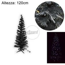 Albero natale nero fibra ottica 180 cm led bianco