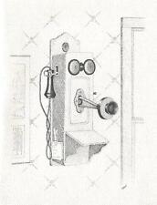 VINTAGE ANTIQUE WOOD CRANK WALL PHONE TELEPHONE KITCHEN DOOR ART NOTE CARD PRINT