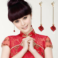 Fashion Women Jewelry Red Ruby Crystal Dangle Tassel Earrings