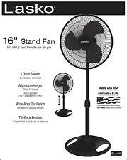 """Lasko 16"""" Oscillating Pedestal Stand 3-Speed Fan, Model S16500, Black"""