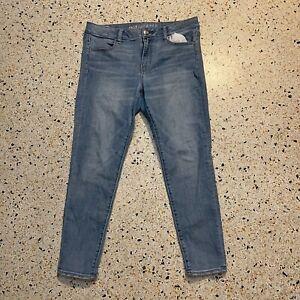 American Eagle Jeans Womens 14 Short Blue Super Super Stretch X Pants Denim
