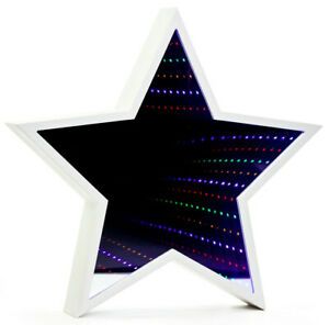 Star Shaped Infinity Mirror Light Tunnel Lighting for wall or free standing