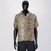 CELINE HOMME 840$ Hawaiian Shirt In Leopard Printed Viscose