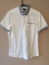 NEXT SHIRTING SLIM FIT WHITE POLKA DOT SHORT SLEEVE DRESS SHIRT SIZE M