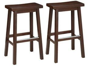 Basics Solid Wood Saddle-Seat Kitchen Counter Barstool Inch Height, Walnut Finis