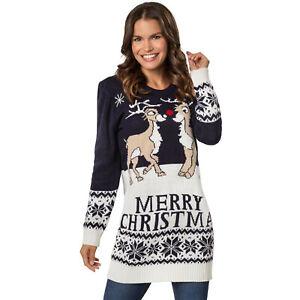 Damen Weihnachtspullover Rentier Norweger Strick Pulli Sweater Weihnachten Xmas