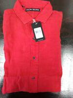 Ralph Lauren Black Label Red Linen Long Sleeve Summer Shirt Size Medium