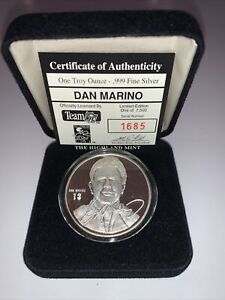 Dan Marino Limited Highland Mint 1oz .999 Pure Silver Medallion/Coin #1685 NFL