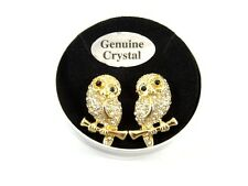New Pair of Crystal Owl Stud Earrings in Metal Gift Box with $24.99 Tags #E1172