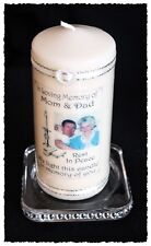 """Mum & Dad  Mother Father  large personalised photo Memorial 6"""" inch candle   #8"""
