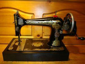 ANTIQUE SINGER SEWING MACHINE  MODEL 127 'SPHINX', HAND CRANK, SERVICED