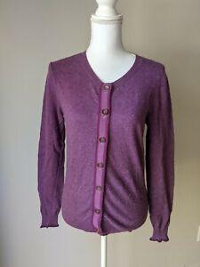 Boden Women's US 8 Purple Button Up Cardigan Sweater Long Sleeve Light Weight