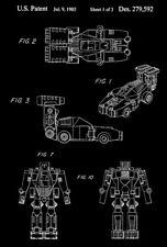 1985 - F1 Dasher - Powerdashers - Transformers Robot - Patent Art Poster
