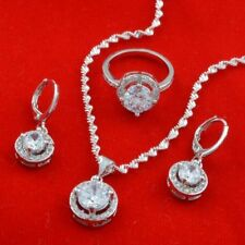 925 Silver Jewelry Set for Women Pendant Chain Necklace Drop Earrings Ring Sets