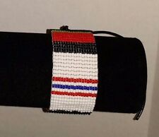 Beaded Native American Regalia Afghanistan service ribbon Veteran bracelet