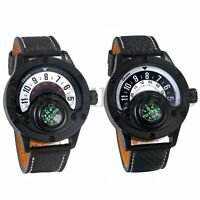 Mens Compass Outdoor Sports Watches Japanese Analog Movement Leather Wristwatch
