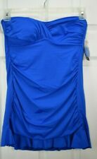 NWT A.N.A. Sz 10 Blue Ruched flared skirt remov. halter strap 1-Pc Swimsuit $86