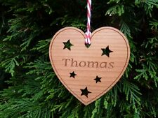Personalised Name Heart Shaped Wood Christmas Tree Decorations Gifts