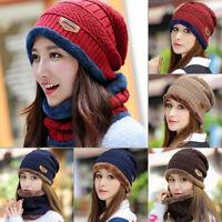 Men Women Winter Warm Crochet Knit Baggy Beanie Wool Skull Hat Ski Cap Scarf RGH