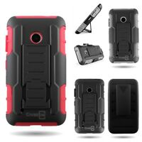 Kickstand Belt Clip Holster Cover Hard + Soft Hybrid Case for Nokia Lumia 530