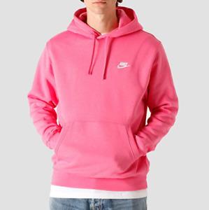 NIKE Men Club Fleece Pullover Hoodie Pink White BV2654 684 - XLT(Tall) New
