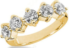 1.77 carat total, 5 Diamond Wedding Ring Anniversary 14k Yellow Gold Band