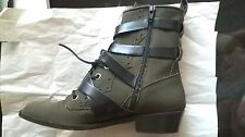 Jerome Rousseau Melch Boots 38 7.5 Canvas Leather Strappy military green combat