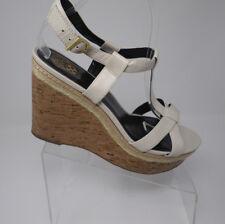 78140e8a398 Vince Camuto Ivory Leather Cork Platform Wedge Sandals 11 M Ramonda Ankle  Strap