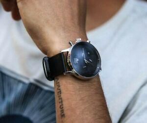 Men's Elegant & Minimalist Watch Stainless Steel Genuine Leather - Drk Gry Strap