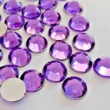 100pcs x 10mm Non-Hotfix LT.Purple Crystal Acrylic Flatback Rhinestones Glue-on